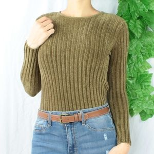 Sweaters - Vintage Chenille Olive Green/Brown Bodycon Sweater